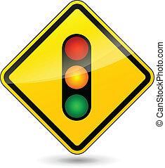 Vector traffic lights yellow sign - Vector illustration of...