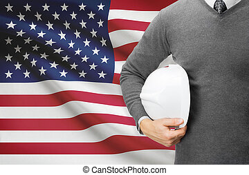 Architect with flag on background  - United States of America