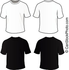 Vector blank tee shirts - Vector illustration of black and...