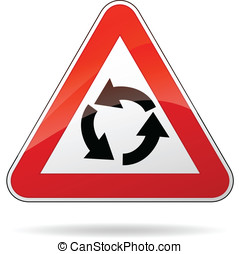 Vector roundabout sign - Vector illustration of triangle...