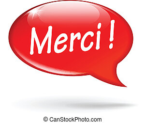 Vector thank you bubble - French translation for thank you...