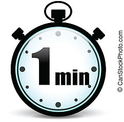 Vector one minute stopwatch - Vector illustration of one...