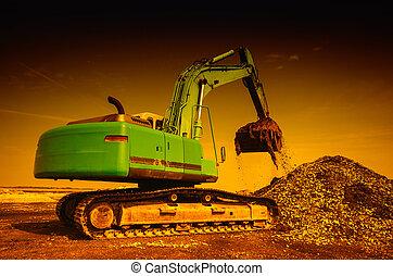 Dredger digger - Big dredger digging building material waste...