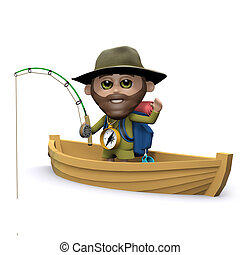 3d Explorer goes fishing on his boat - 3d render of an...