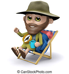 3d Explorer sunbathing in a deck chair - 3d render of an...