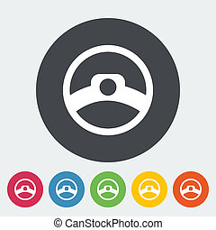 Steering wheel. Single flat icon on the circle. Vector...