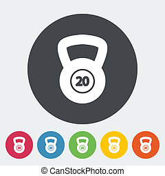 Sport weight single icon - Sport weight Single flat icon on...