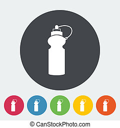 Sports water bottle icon. - Sports water bottle. Single flat...