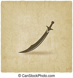 Arabian saber scimitar old background - vector illustration....