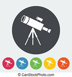 Telescope. Single flat icon on the button. Vector...