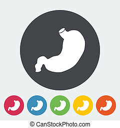 Stomach icon - Stomach Single flat icon on the circle Vector...