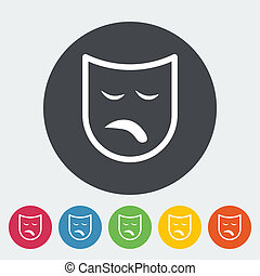 Theatrical mask. Single flat icon on the button. Vector...