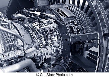 jet engine detail - detail of a powerful commercial jet...