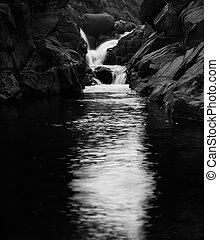 Black and white Drakensburg mountain waterfall - Black and...