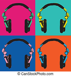 Headphones Pop Art vector 2