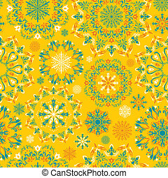 Vector yellow snow pattern - Winter yellow illustration with...