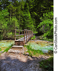 wooden bridge - Landscape with a wooden bridge over a...