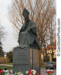 Warsaw,Poland - The statue of the Primate of Stefan...