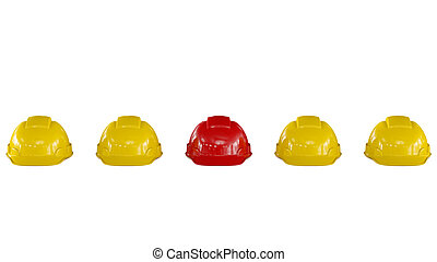 Line of yellow safety helmets with a red one - line of...
