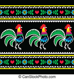 Polish folk art pattern - Repetitive cutout style colorful...