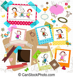 kids and photo frames - happy kids and photo frame