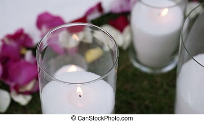 Candles and rose petals - On carpet candles and rose petals