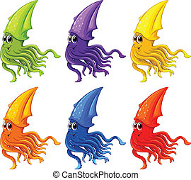 Squid - Illustration of different color squids