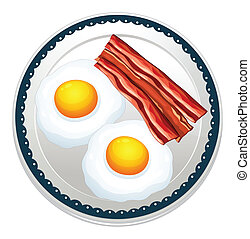 Egg and becon - Illustration of egg and becon on a plate