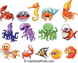 Sea creatures - illustration of many sea creatures