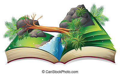 Stream book - Illustration of a popup book of a stream