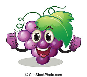 Grape - Illustration of grape with face