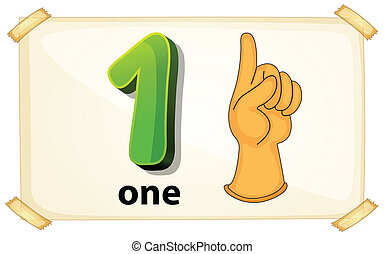 Number One - Illustration of a flashcard number one