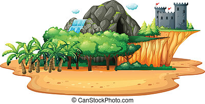 Island - Illustration of an island with cave