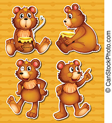Bear and honey - illustration of many bears and honey