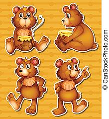 Bear and honey - illustration of many bears and honey