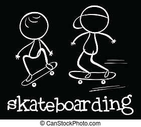 Skateboarding - Illustration of a doodle of skateboarding