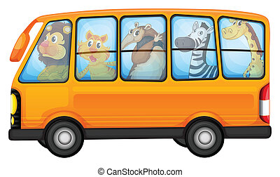 Animals and school bus - Illustration of many animals on a...