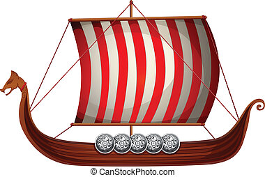 Viking ship - Illustration of a viking ship with sails