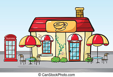 Coffee shop - Illustration of a coffee shop and a phone...