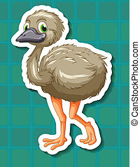 Ostrich - Illustration of an ostrich with background