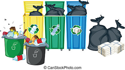 Rubbish bins - Illustration of rubbin bins and garbages