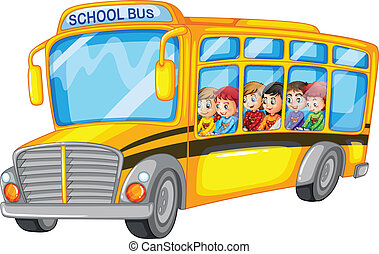 Children and school bus - Illustration of many children on a...