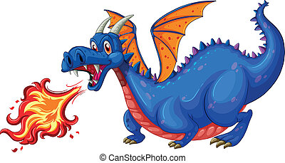 Dragon - Illustration of a blue dragon blowing fire