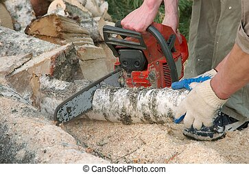 Cutting with chainsaw - Cutting small log with chainsaw