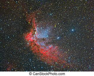 NGC7380 Wizard Nebula - nebula imaged with a telecope and a...