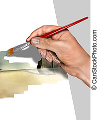 Artist painting a picture - Illustration of an artist...