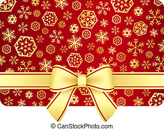 Luxury Christmas gift card with golden snowflakes and ribbon...