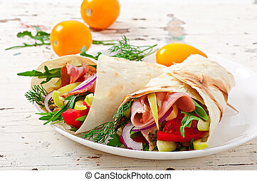 tortilla wraps with meat - Fresh tortilla wraps with meat...