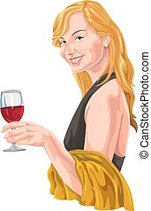 Vector of woman holding wineglass.