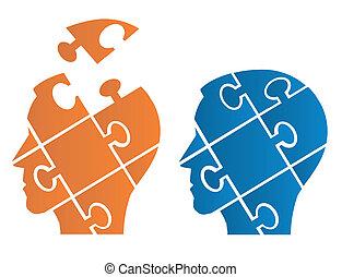 Quebra-cabeça, cabeças, symbolizing,...